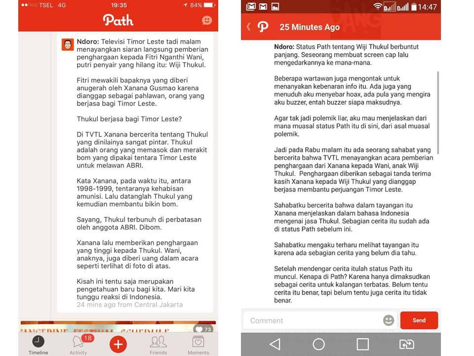 Screen capture dari Path Ndoro Kakung pertama yang menyatakan Wiji Thukul memasok bom ke Timor Leste (kiri) dan screen capture Path Ndoro Kakung yang kedua berisi klarifikasi  screen capture pertama (Kanan)