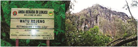 POS 2 : Watu Rejeng Ketinggian 2350 MDPL : Jarak pos ini sekitar 1 jam pendakian dari pos 1 Landengan Dowo. Di area ini mulai Nampak perbukitan batu yang berdiri megah di sepanjang jalur area pendakian.