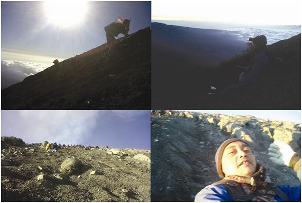 Begini susahnya mendaki kemiringan Mahameru. Dimulai dari jam 1 dini hari selepas vegetasi Arcopodo, semua trek adalah pasir. Mendaki merangkak tiga langkah, turun satu langkah. Harus sabar dan penuh semangat hingga sampai di puncaknya. Rata-rata pendakian dengan stamina yang prima butuh sekitar 6 - 8 jam. Tidak boleh putus asa dan menyerah.